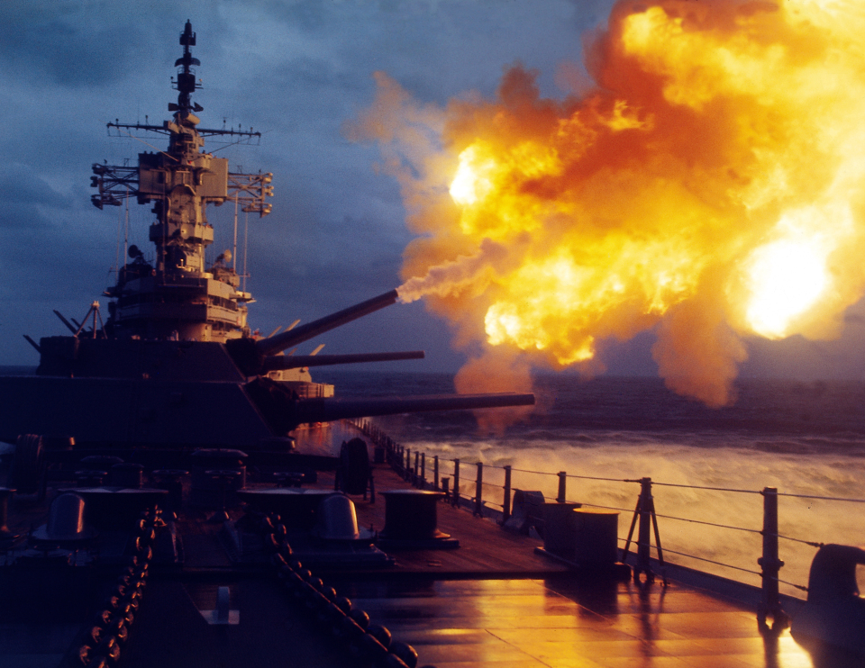 Battleship New Jersey Firing Guns